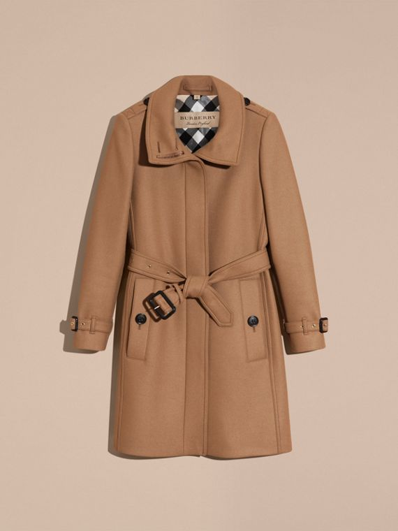 Technical Wool Cashmere Funnel Neck Coat in Camel - Women | Burberry United States - cell image 3