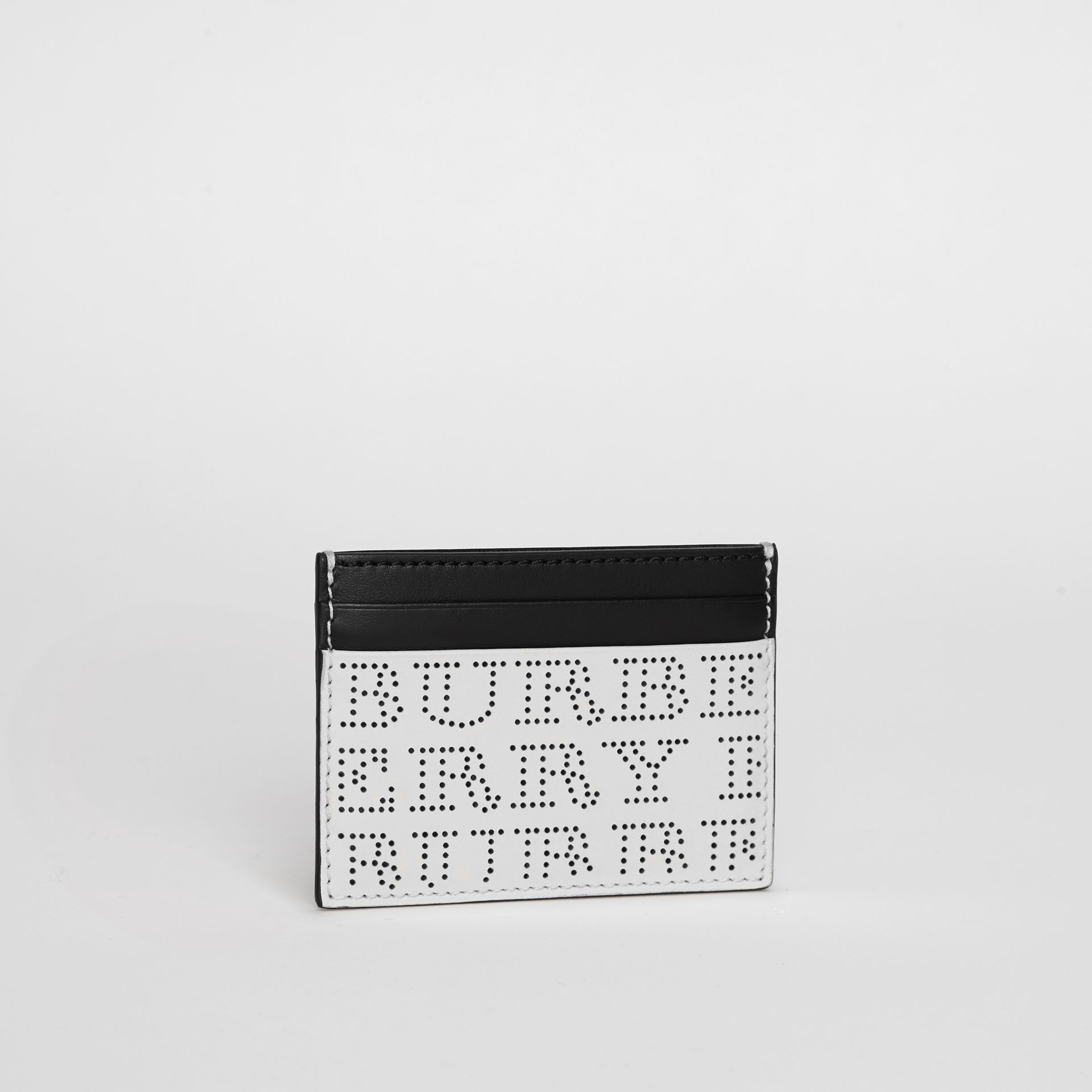 Perforated Logo Leather Card Case in Optic White - Men | Burberry - gallery image 4