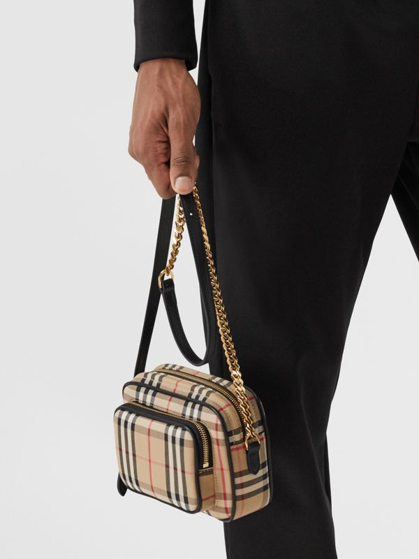 Vintage Check and Leather Camera Bag in Archive Beige | Burberry United States - cell image 3