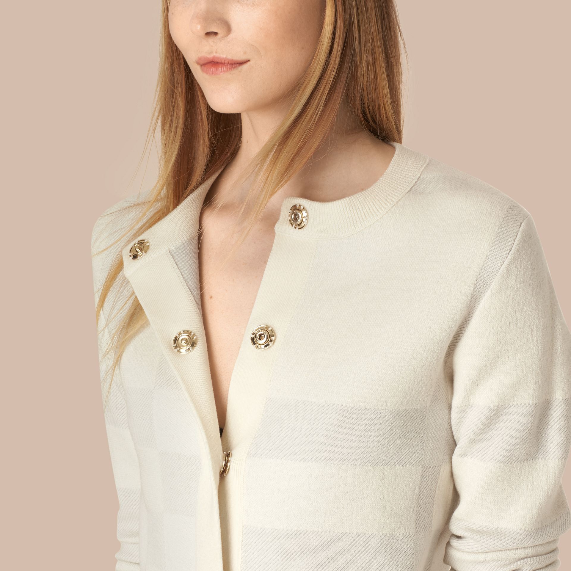 Natural white Check-knit Wool Blend Cardigan - gallery image 4