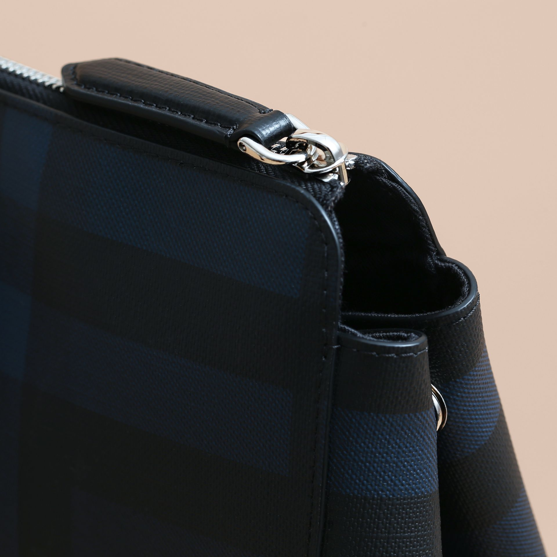 Large London Leather Briefcase in Dark Navy - Men | Burberry - gallery image 2