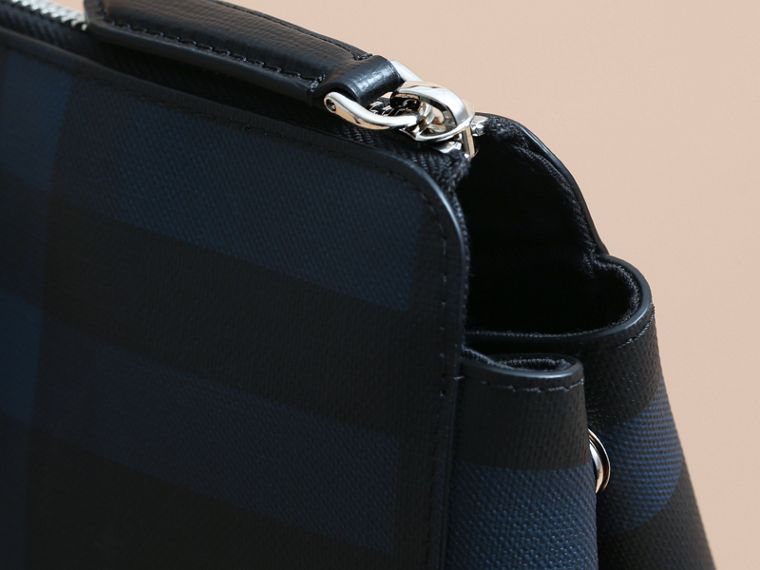 Large London Leather Briefcase in Dark Navy - Men | Burberry Singapore - cell image 1