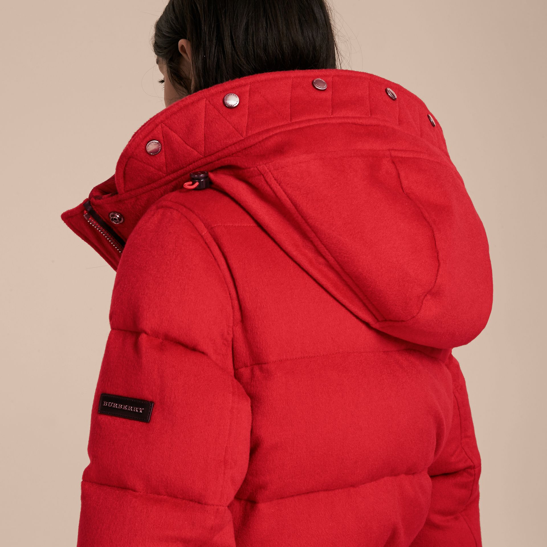 Down-filled Cashmere Coat with Detachable Fur Trim in Parade Red - gallery image 5
