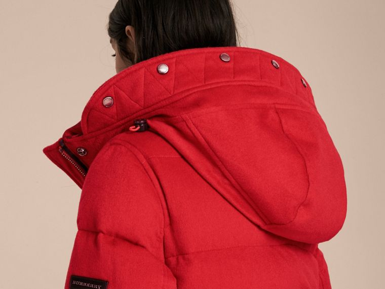Down-filled Cashmere Coat with Detachable Fur Trim in Parade Red - cell image 4