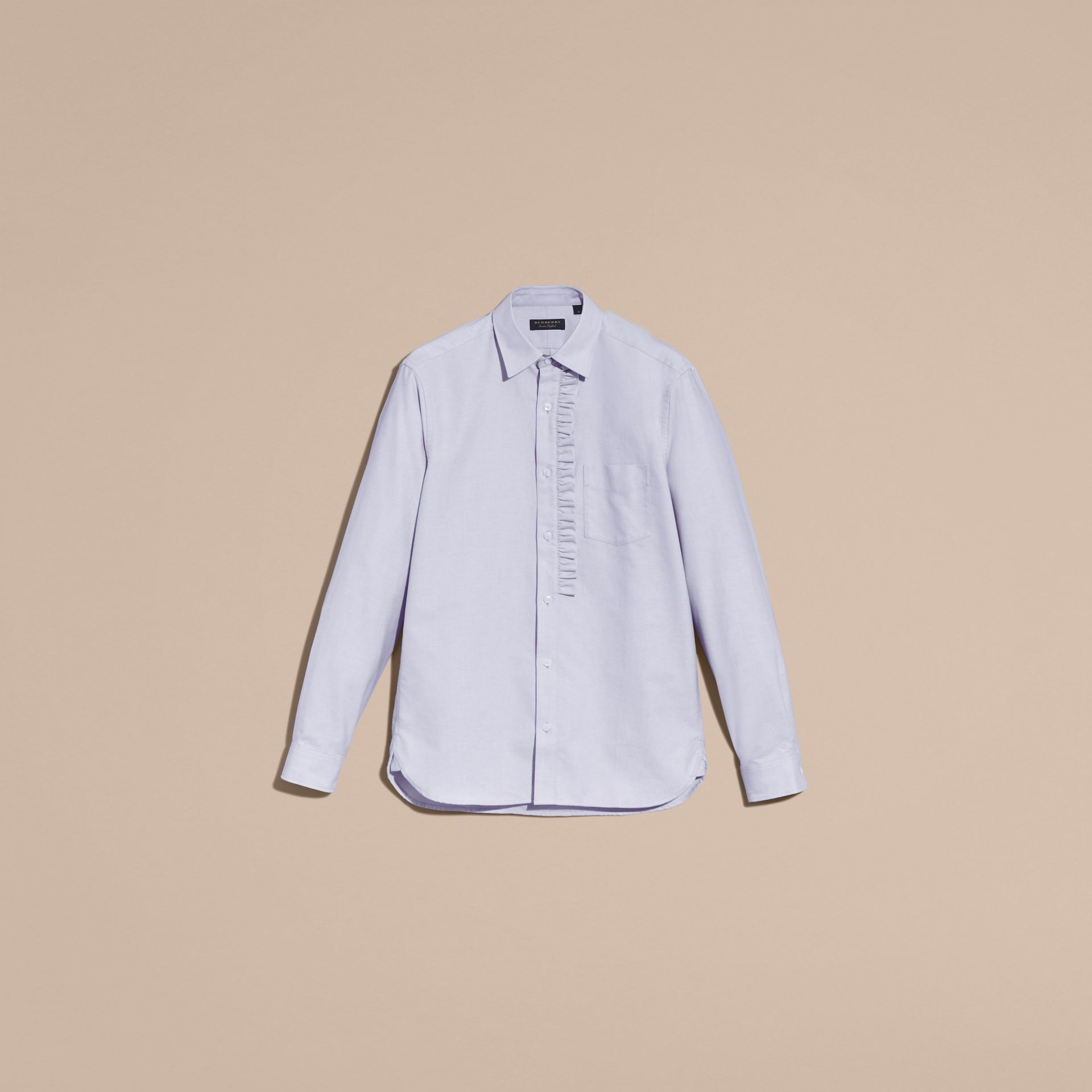 Cornflower blue Ruffle Detail Cotton Oxford Shirt - gallery image 4