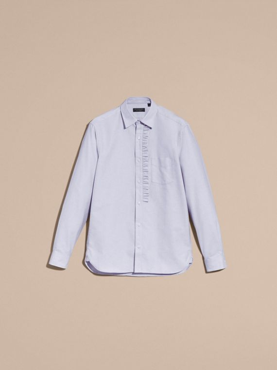 Cornflower blue Ruffle Detail Cotton Oxford Shirt - cell image 3