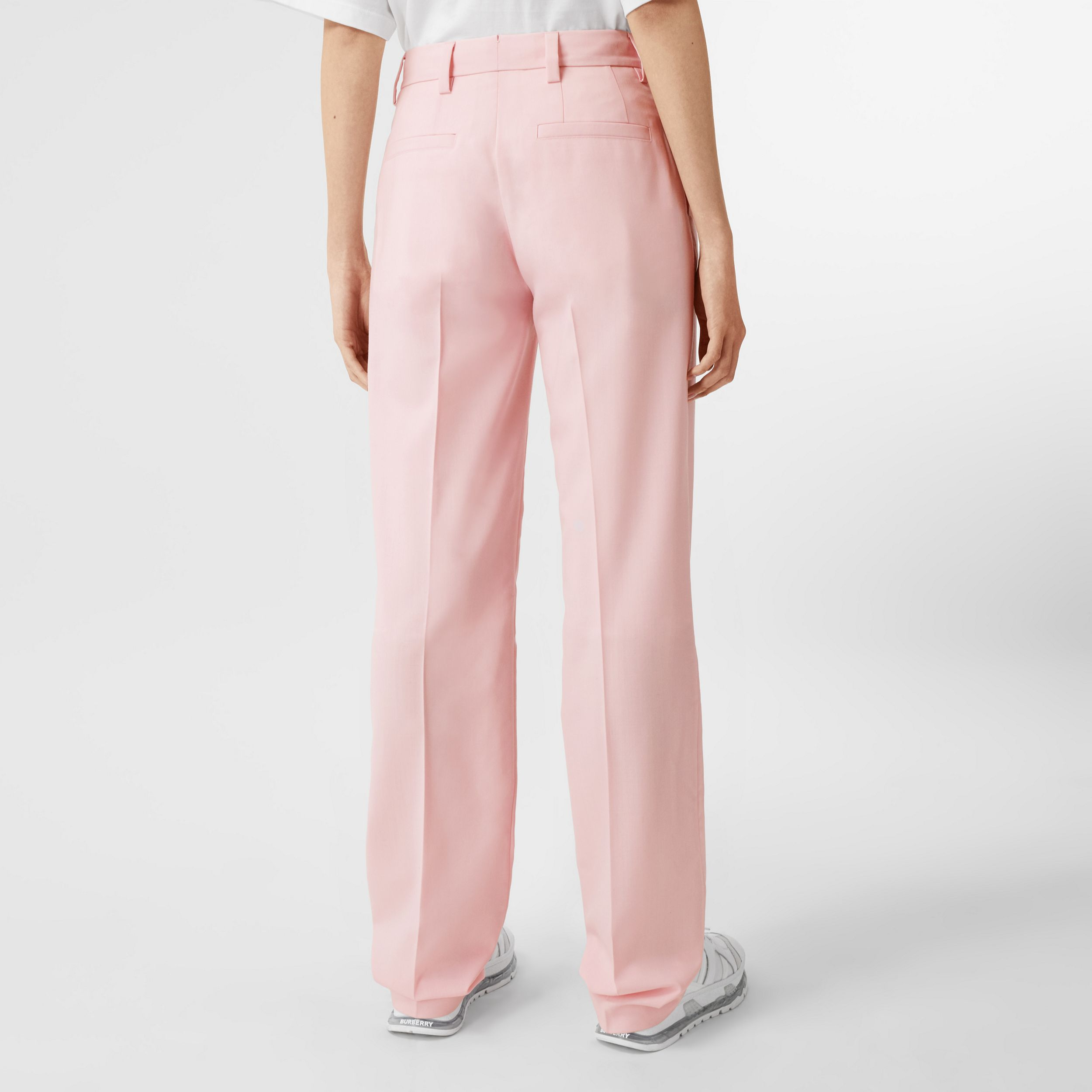 Pocket Detail Tumbled Wool Tailored Trousers in Soft Pink - Women | Burberry - 3