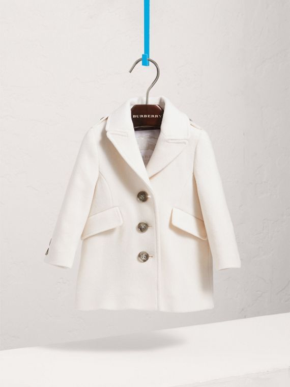 Cashmere Tailored Coat in Natural White | Burberry - cell image 2
