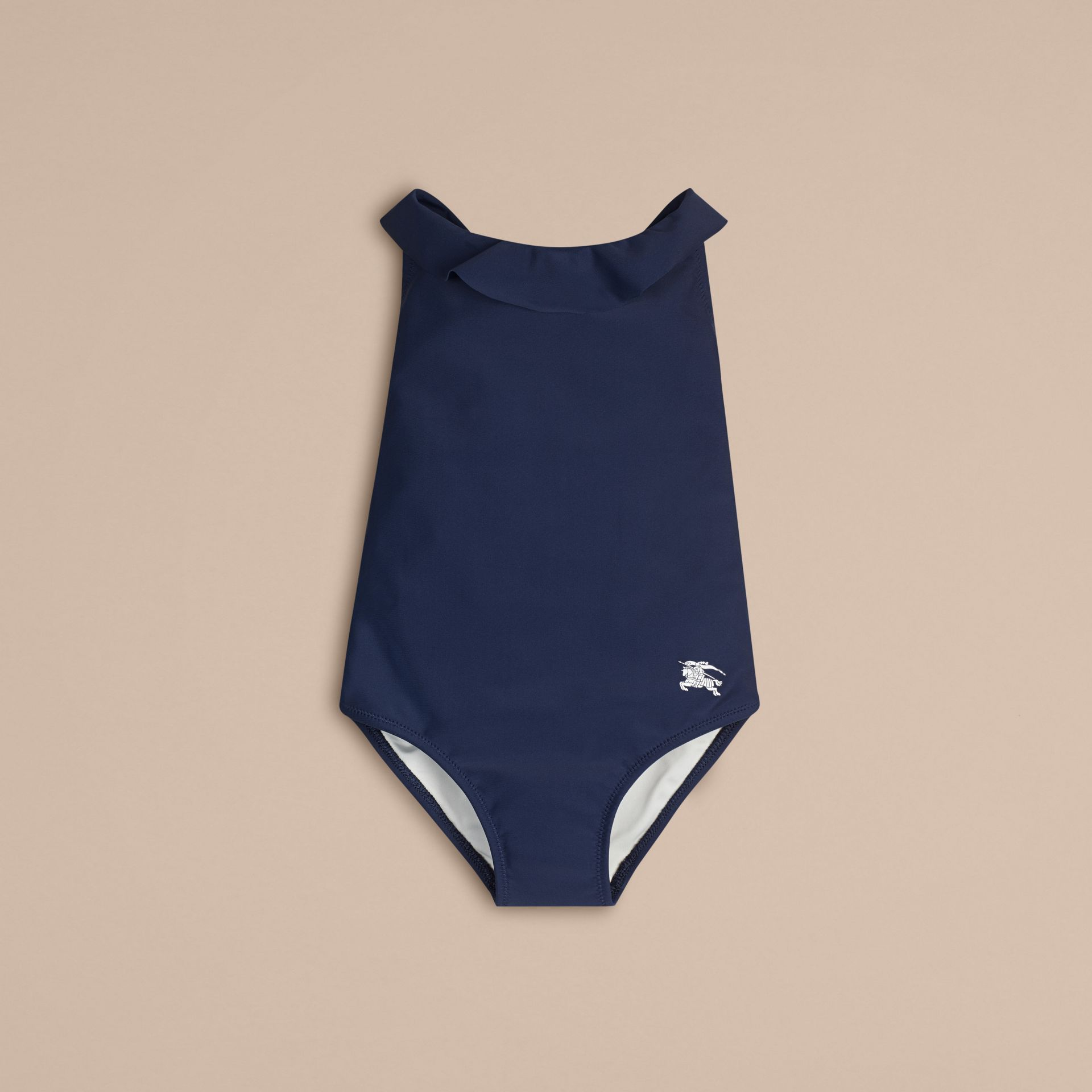 Frill Neck Swimsuit in Navy - Girl | Burberry United Kingdom - gallery image 1