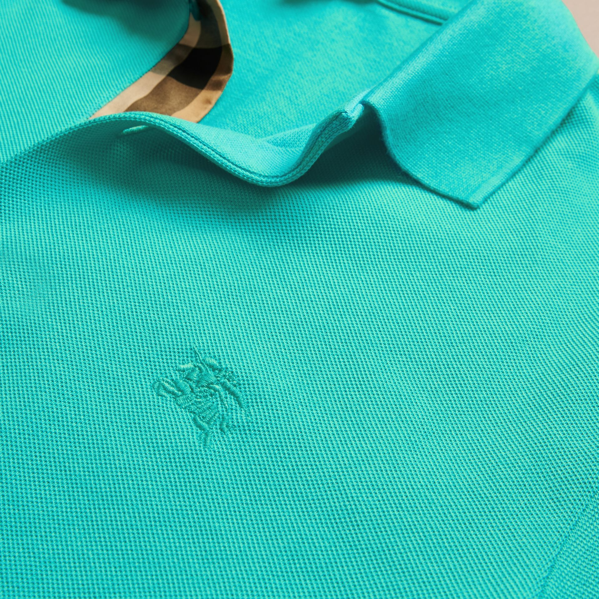 Turquoise green Check Placket Cotton Piqué Polo Shirt Turquoise Green - gallery image 2