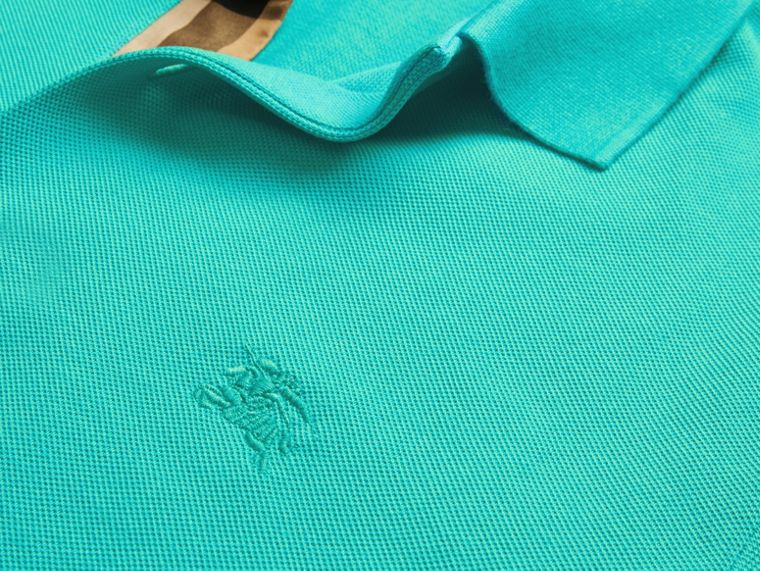 Turquoise green Check Placket Cotton Piqué Polo Shirt Turquoise Green - cell image 1