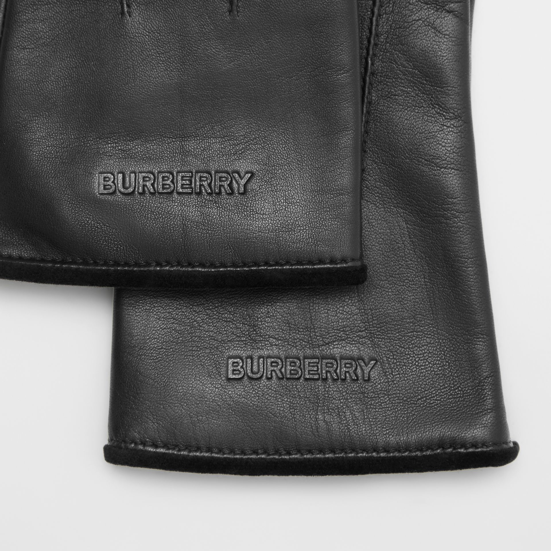 Embossed Logo Cashmere-lined Lambskin Gloves in Black/black - Men | Burberry United Kingdom - gallery image 1