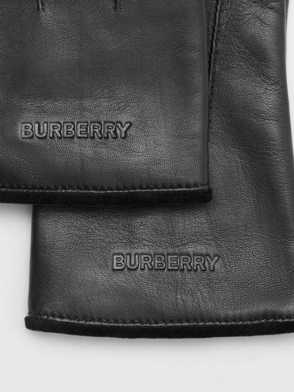 Embossed Logo Cashmere-lined Lambskin Gloves in Black/black | Burberry - cell image 1