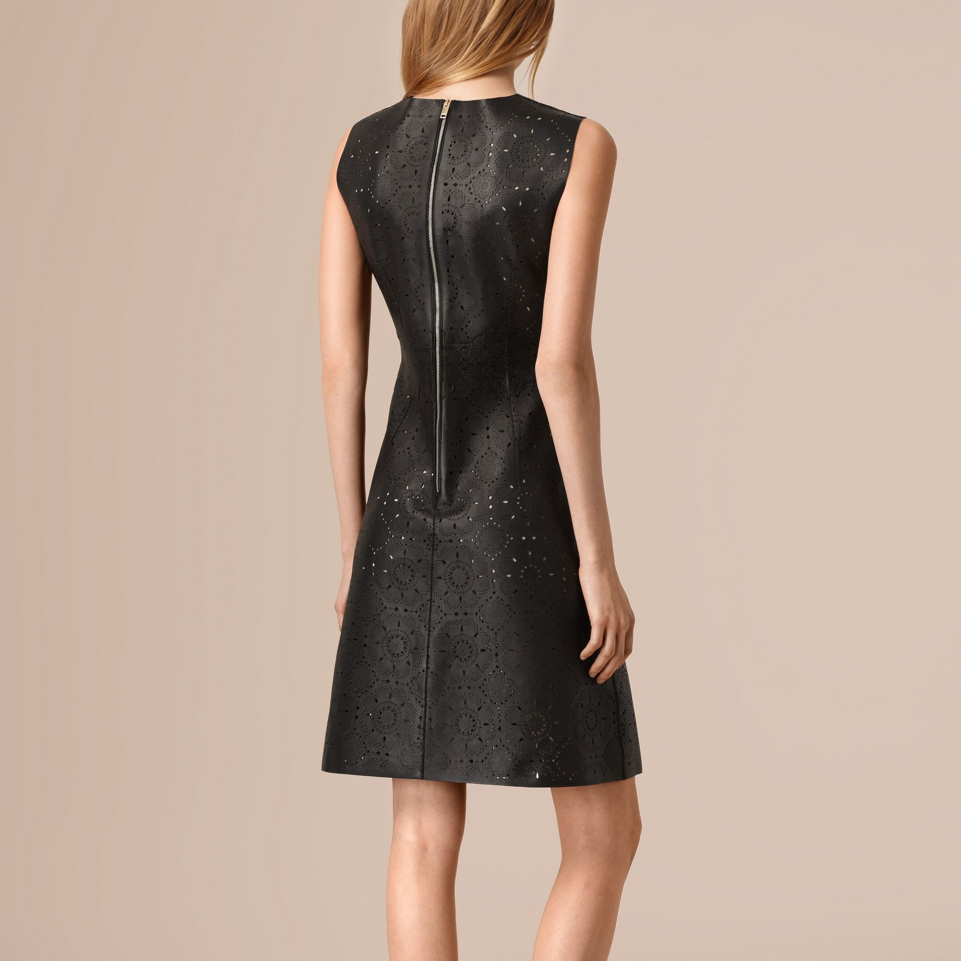 Black Laser-cut Lace Lambskin Shift Dress - gallery image 2