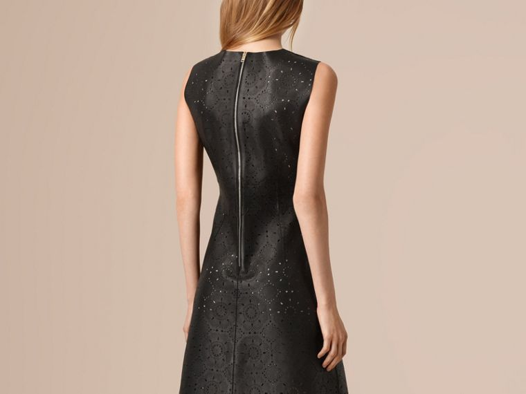 Black Laser-cut Lace Lambskin Shift Dress - cell image 1
