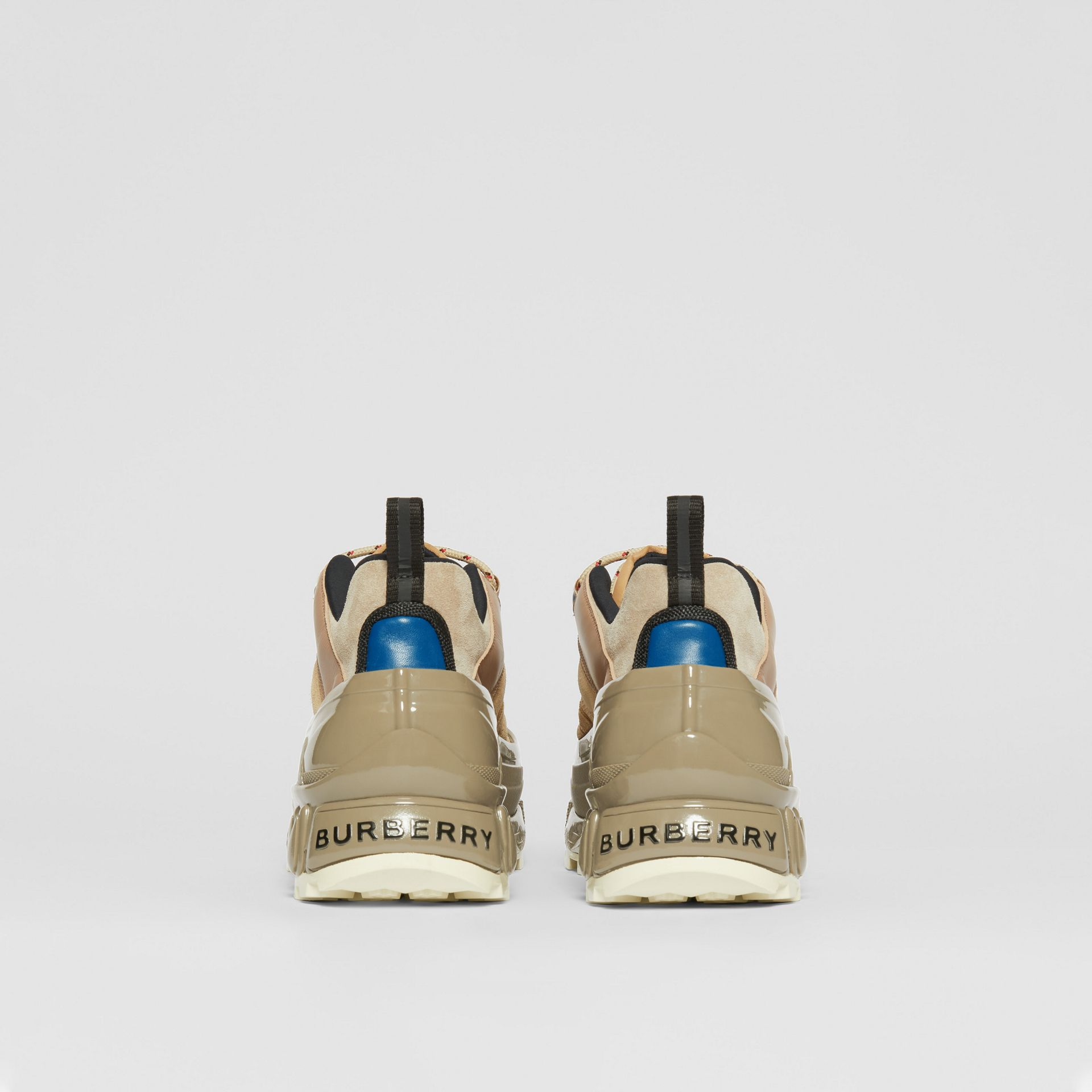 Suede, Mesh and Leather Arthur Sneakers in Beige - Men | Burberry United Kingdom - gallery image 3