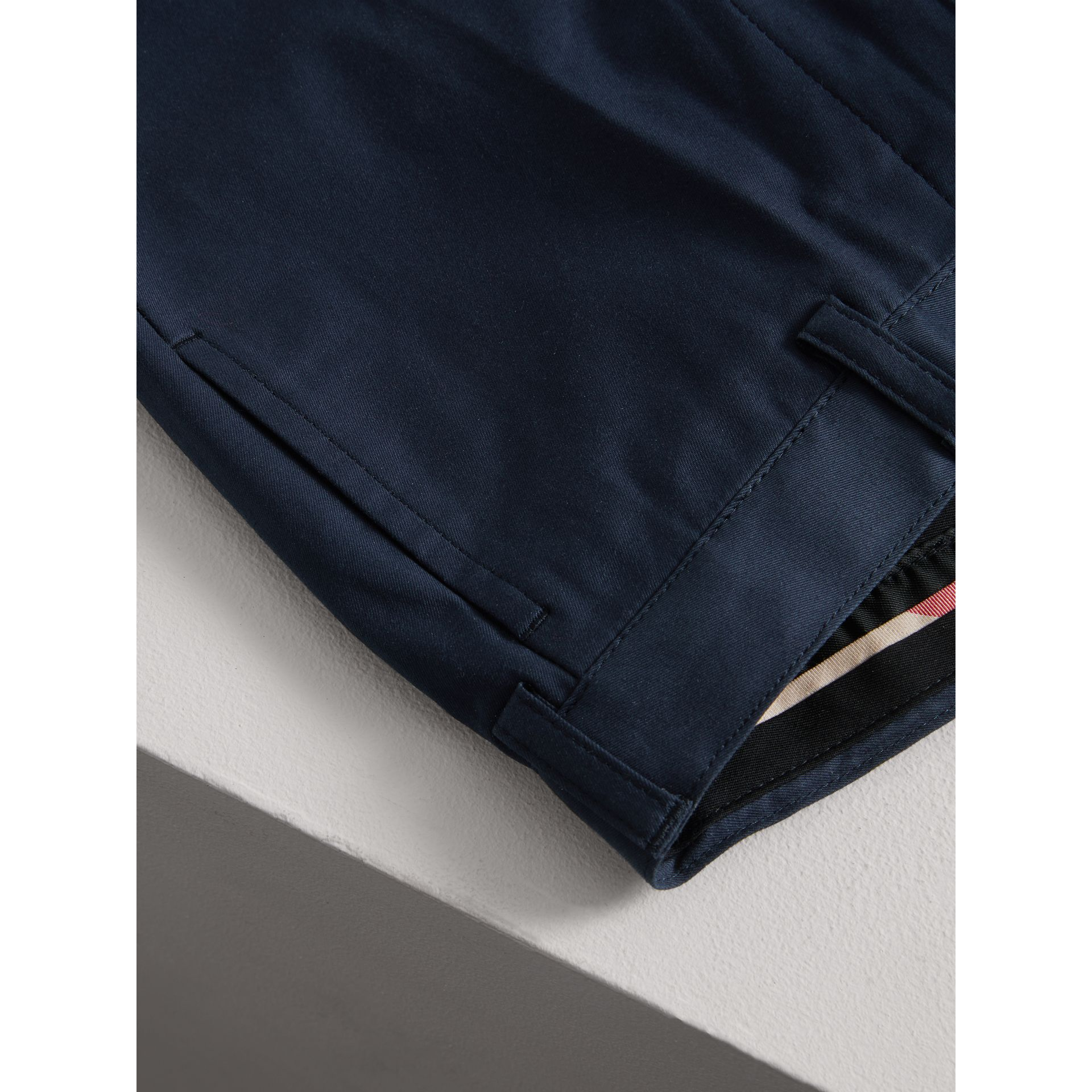 Tailored Stretch Cotton Trousers in Navy | Burberry - gallery image 1