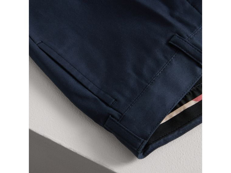 Tailored Stretch Cotton Trousers in Navy | Burberry - cell image 1