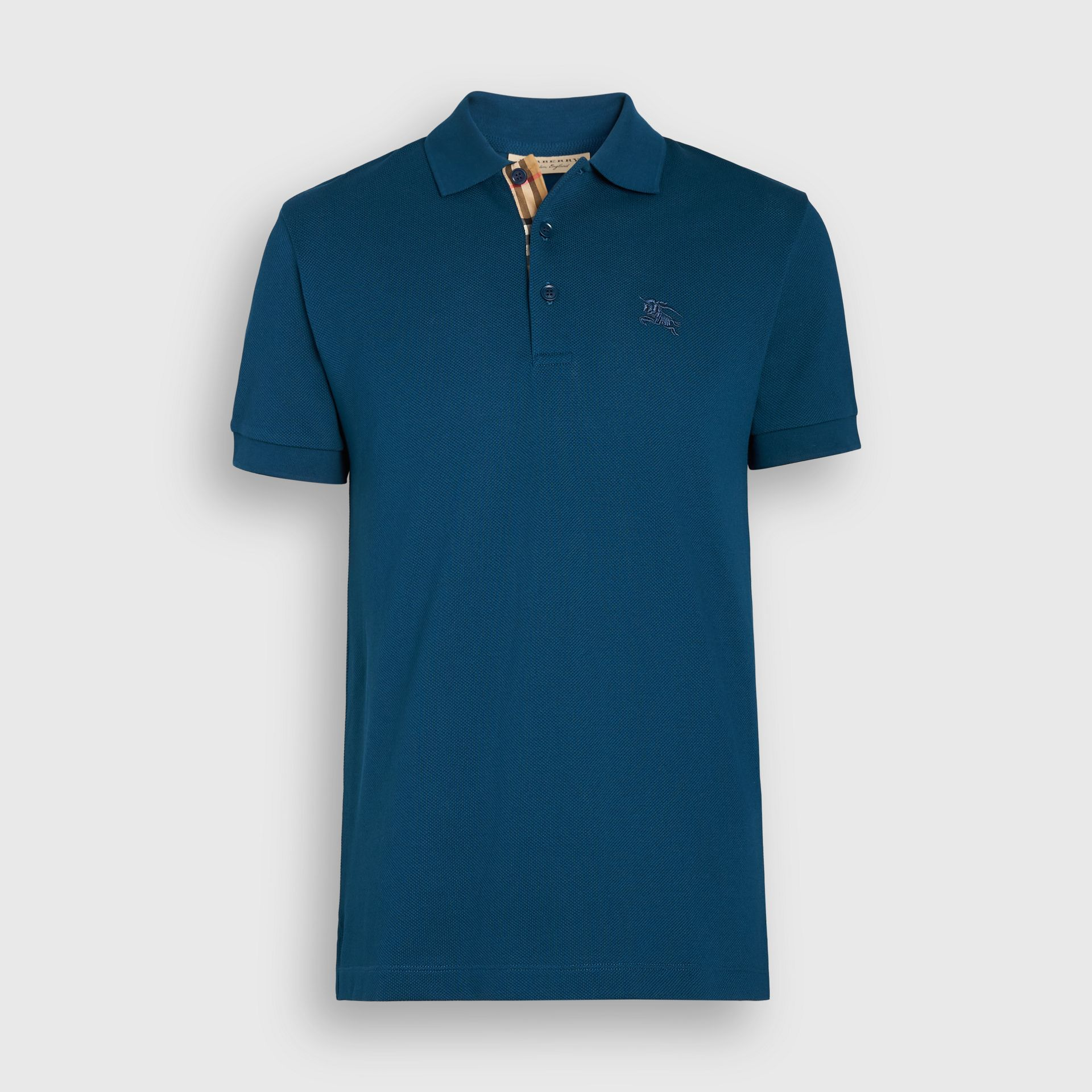 Check Placket Cotton Piqué Polo Shirt in Deep Teal Blue - Men | Burberry - gallery image 3