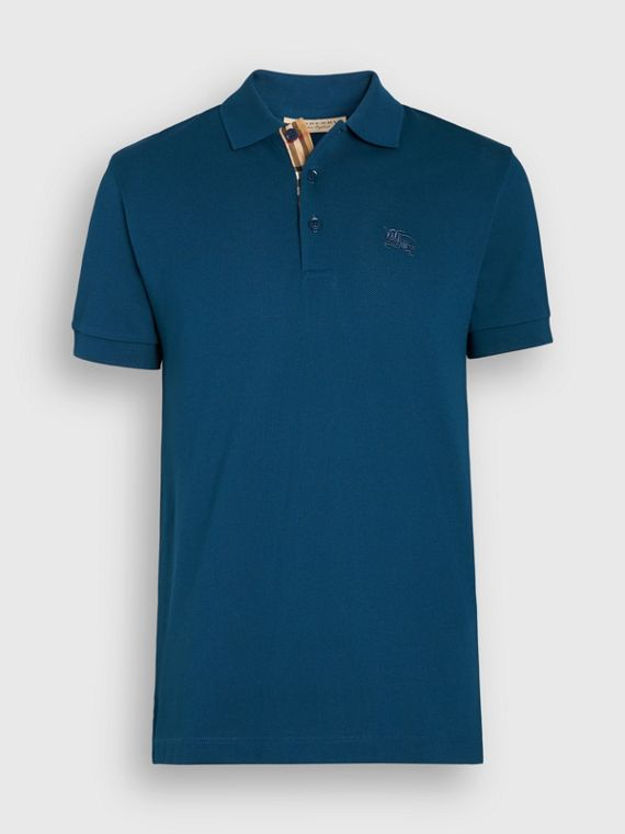 17df0874256c8 Check Placket Cotton Polo Shirt in Deep Teal Blue