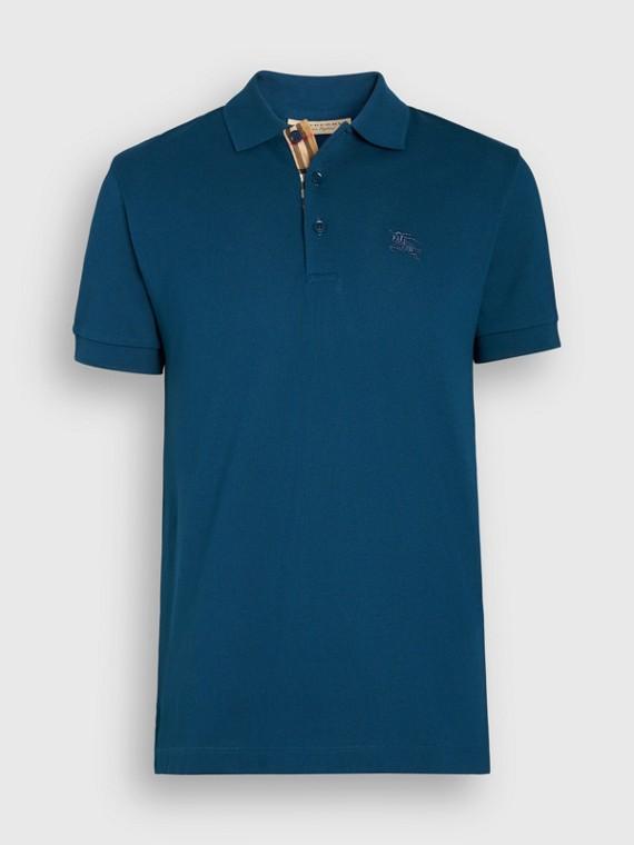 ce3676359c Camisa polo de algodão com tira de botões xadrez (Azul Petróleo Escuro)