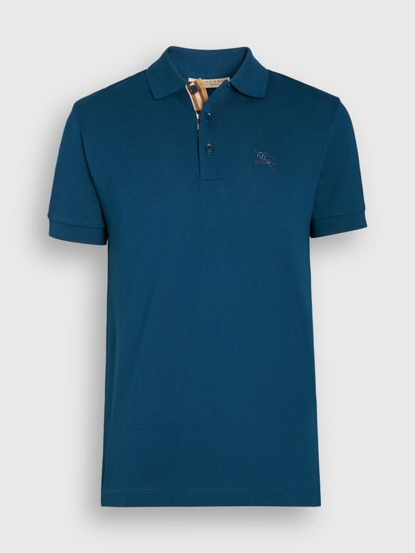 Check Placket Cotton Polo Shirt in Deep Teal Blue - Men | Burberry - cell image 3