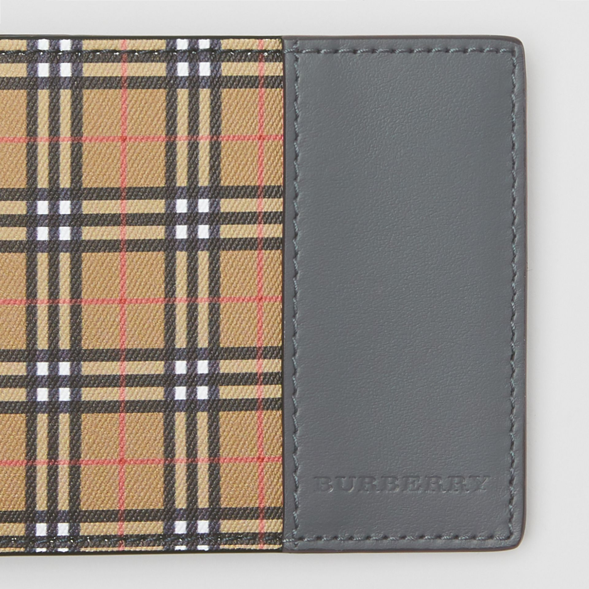 Small Scale Check and Leather Bifold Wallet in Antique Yellow/dark Grey - Men | Burberry United States - gallery image 1
