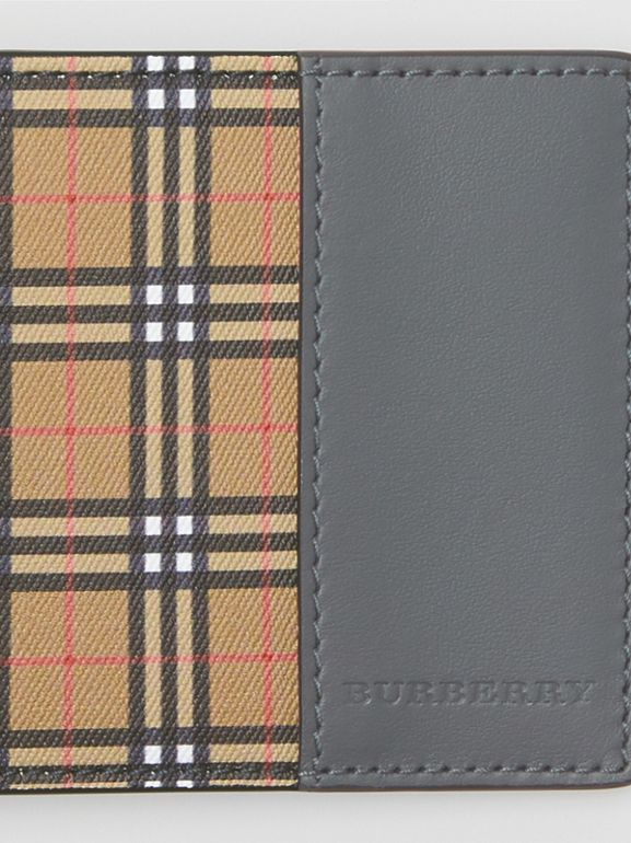 Small Scale Check and Leather Bifold Wallet in Antique Yellow/dark Grey - Men | Burberry - cell image 1