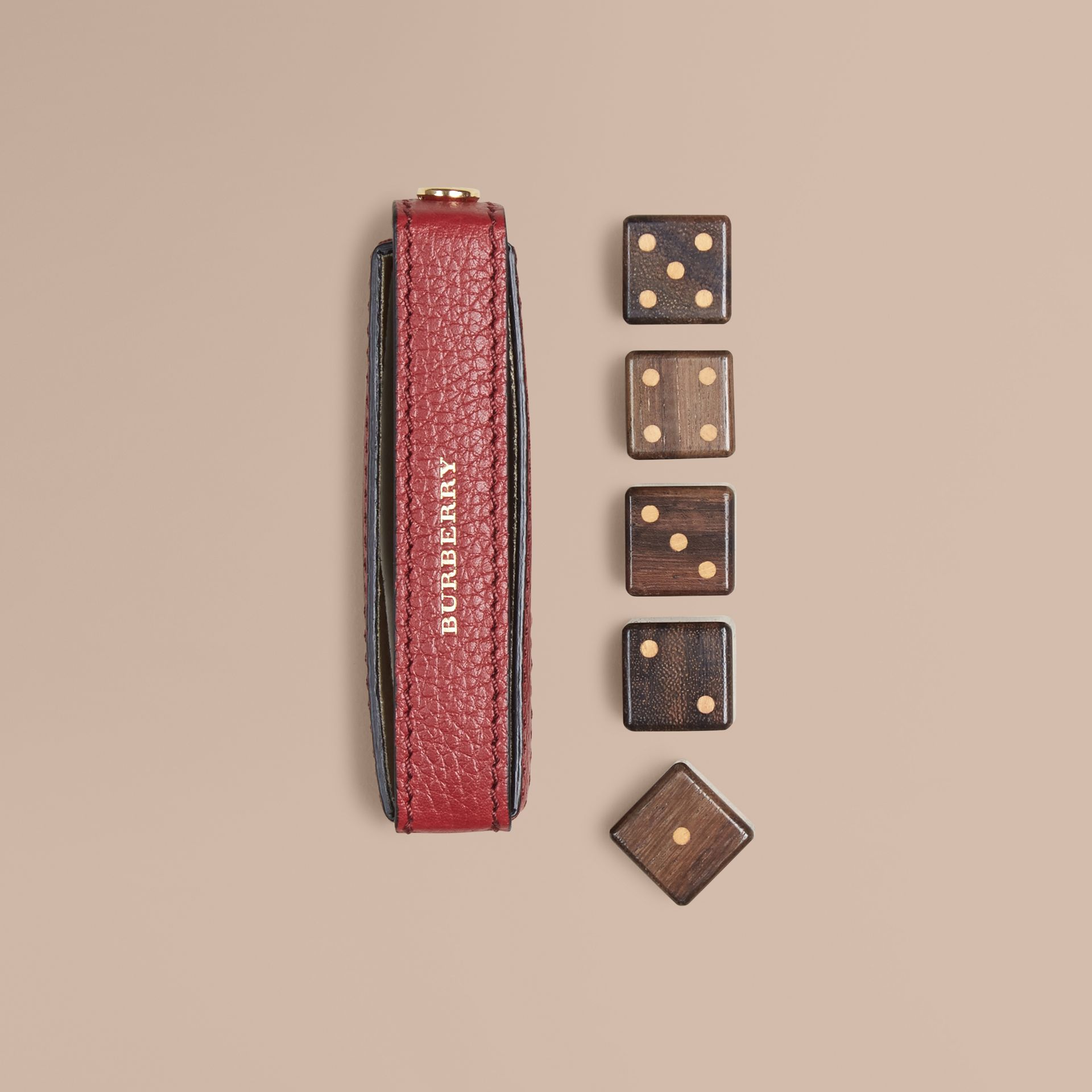 Parade red Grainy Leather Dice Set with Case Parade Red - gallery image 1
