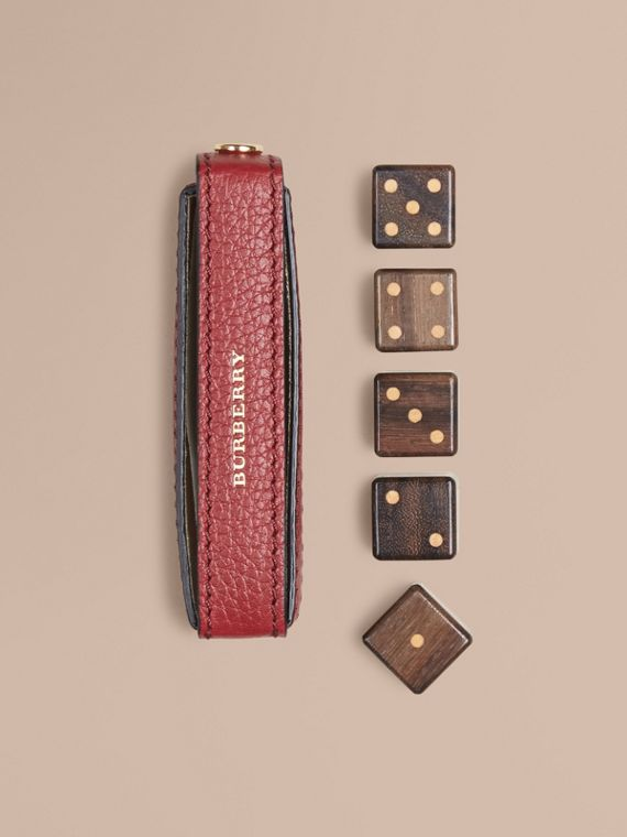 Grainy Leather Dice Set with Case Parade Red