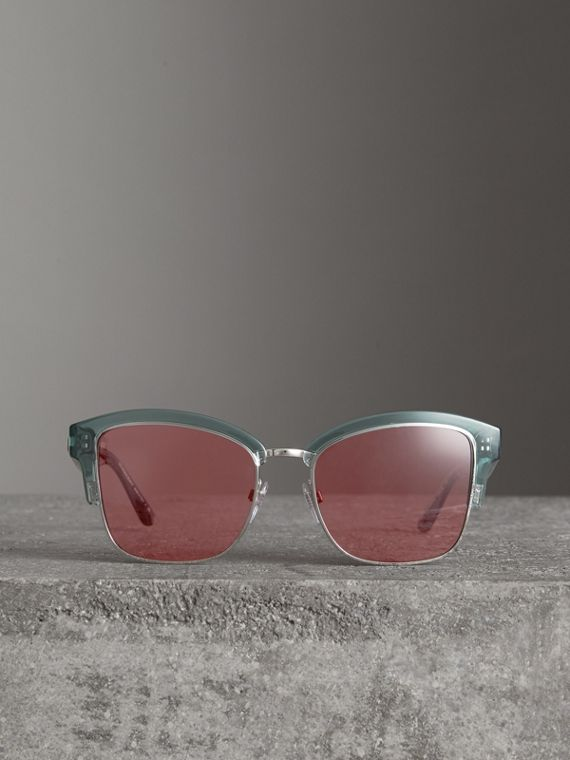 Doodle Square Frame Sunglasses in Blue - Women | Burberry - cell image 2