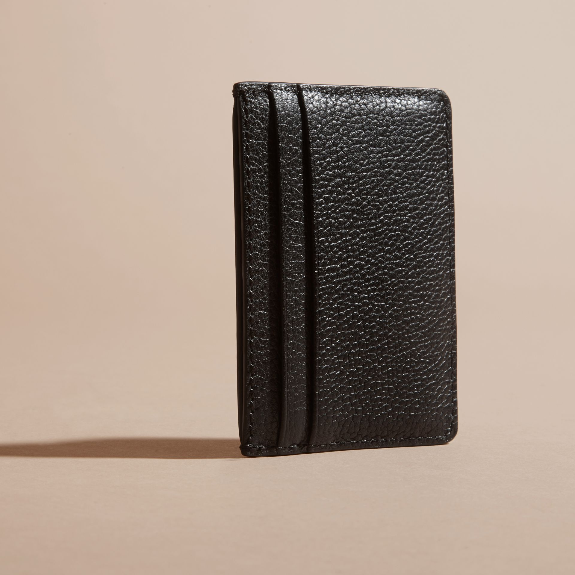 Black Grainy London Leather Card Case Black - gallery image 4