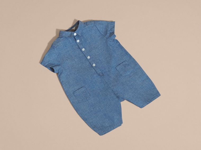 Buttoned Cotton Chambray Playsuit - cell image 4
