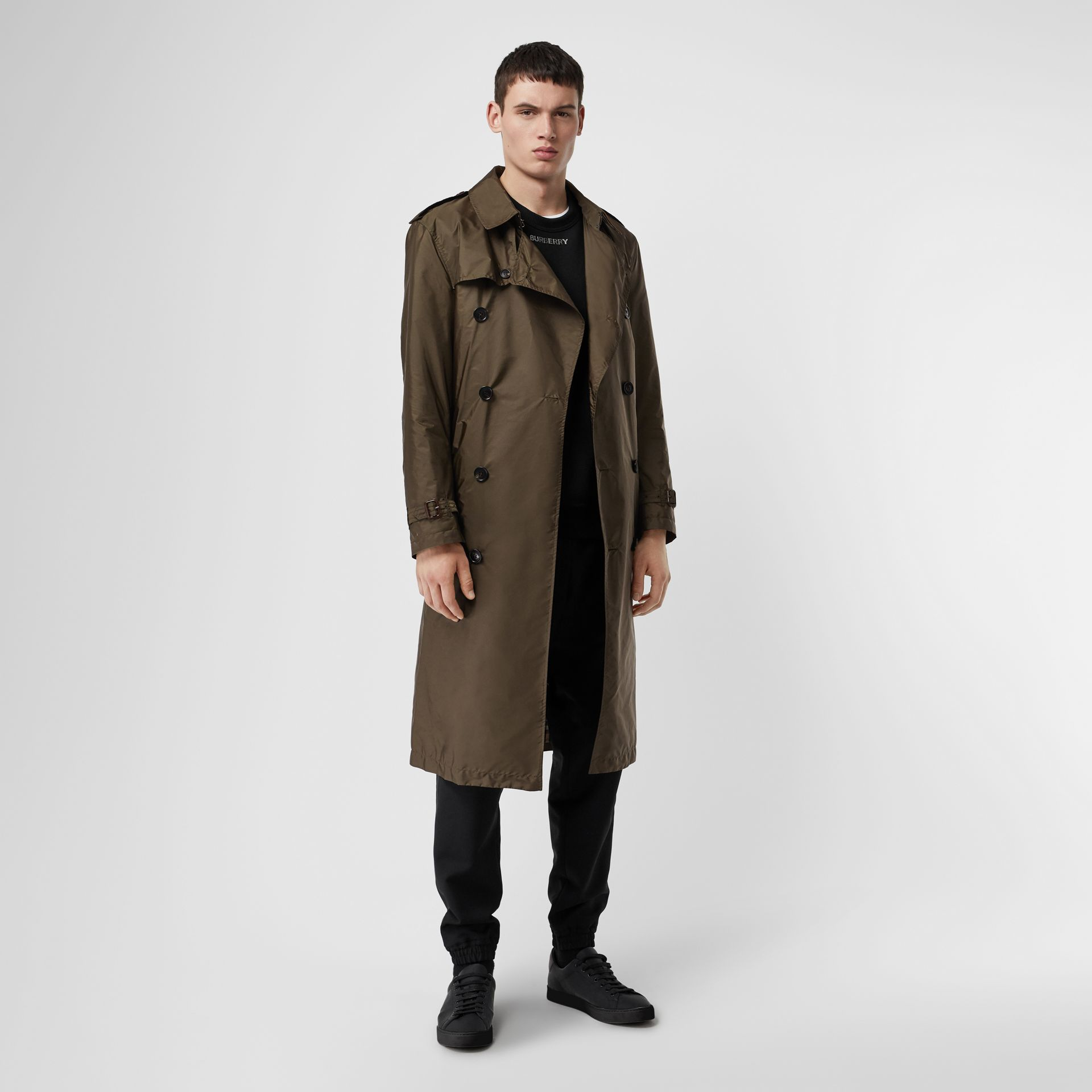 Lightweight Nylon Trench Coat in Military Green - Men | Burberry - gallery image 0