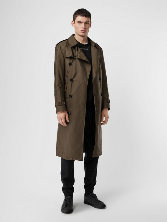 Lightweight Nylon Trench Coat in Military Green