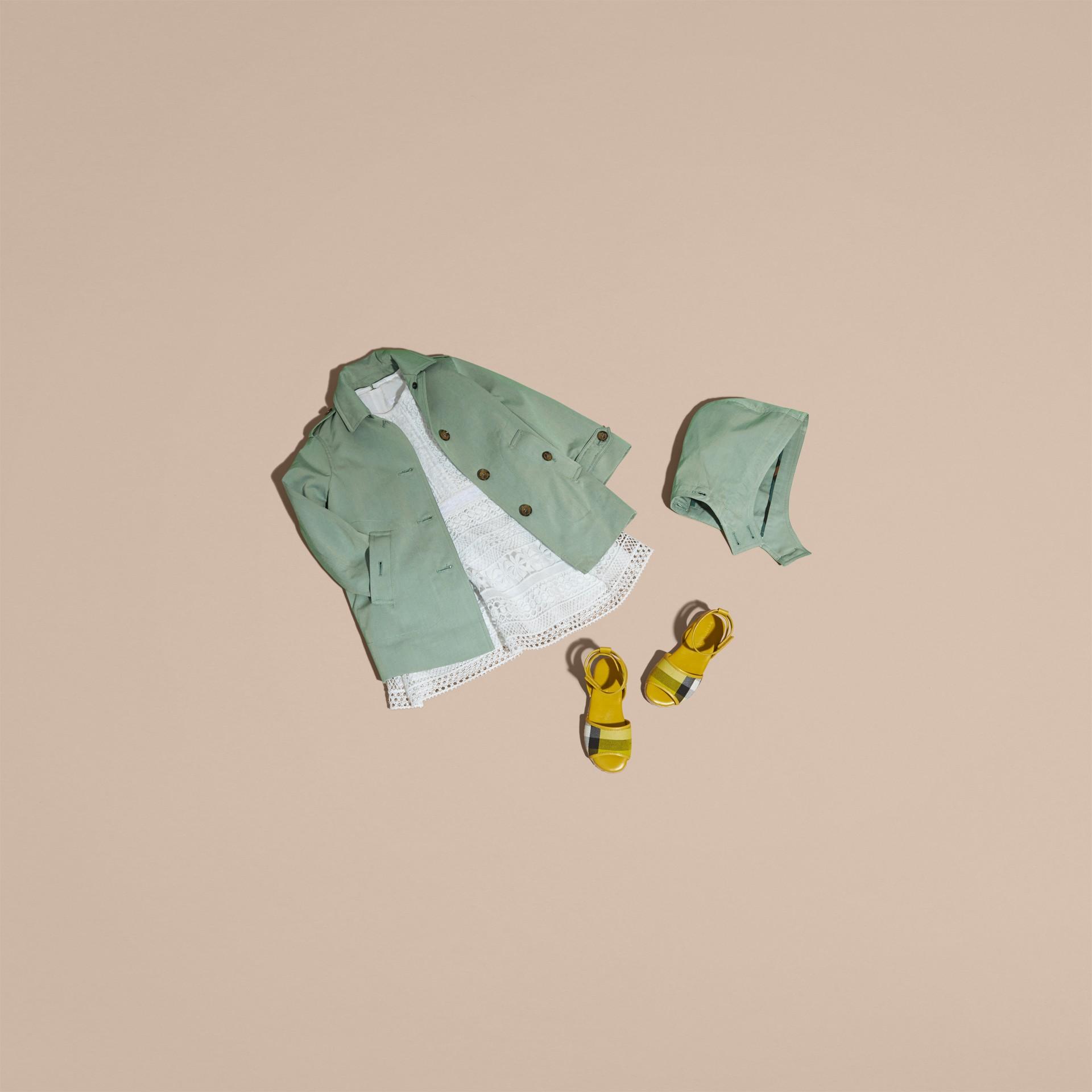 Detachable Hood Tropical Gabardine Trench Coat in Pale Eucalyptus - gallery image 5