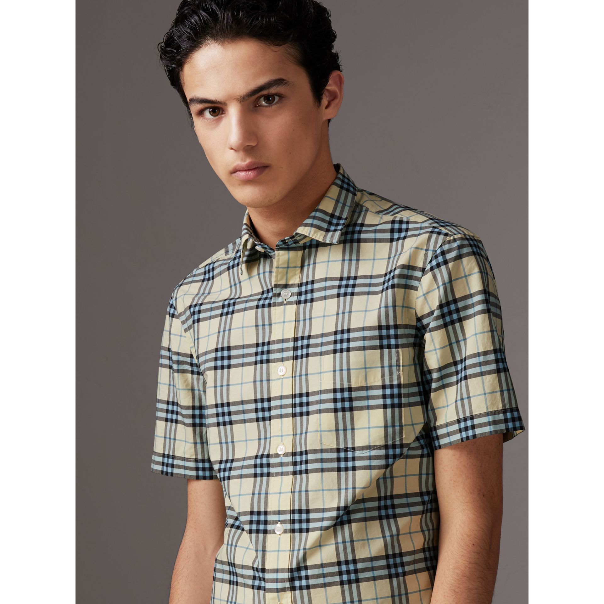 Short-sleeve Check Cotton Shirt in Chalk Yellow - Men | Burberry - gallery image 1