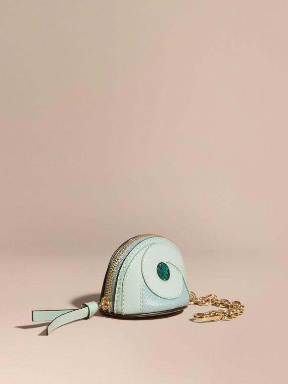 Python Print Leather Coin Case in Pale Opal