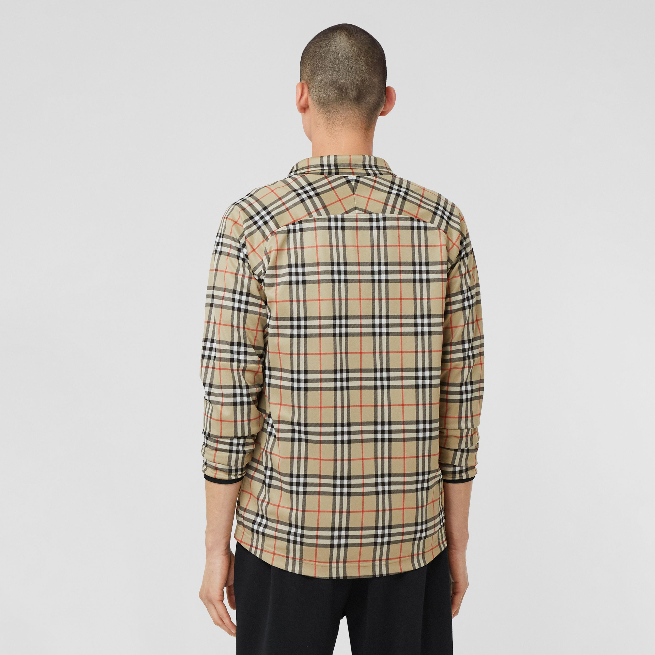 Vintage Check Technical Twill Track Top in Archive Beige - Men | Burberry United Kingdom - 3