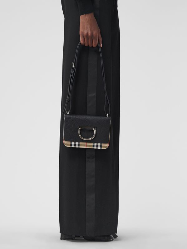 The Mini Vintage Check and Leather D-ring Bag in Black - Women | Burberry Singapore - cell image 3
