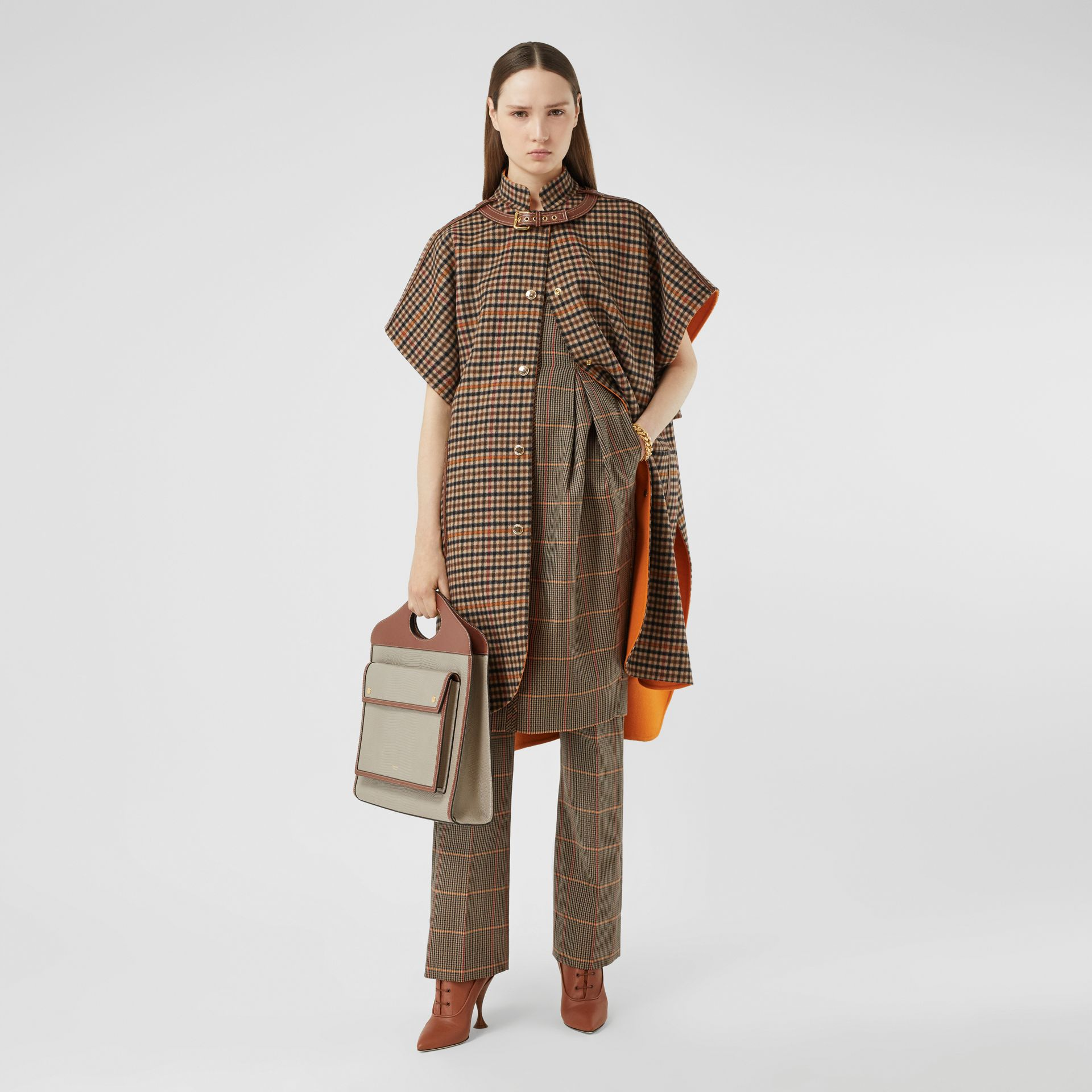 Double-faced Check Wool Cape in Bright Orange - Women | Burberry United Kingdom - gallery image 0