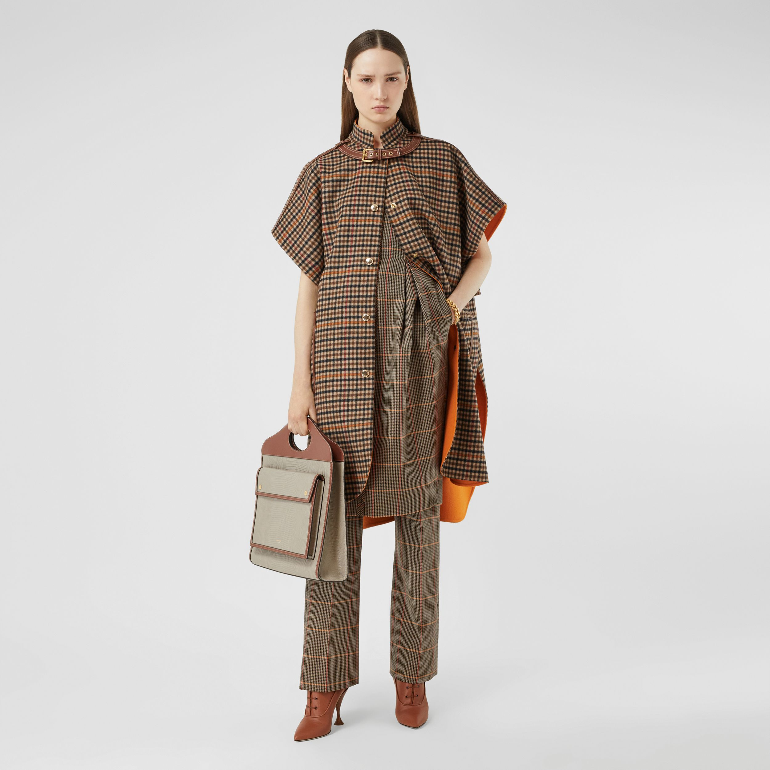 Double-faced Check Wool Cape in Bright Orange - Women | Burberry Canada - 1