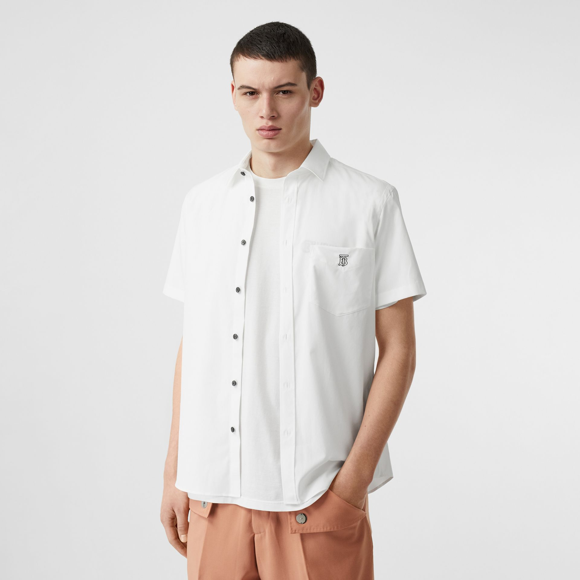 Monogram Motif Stretch Cotton Poplin Shirt in White - Men | Burberry Australia - gallery image 4