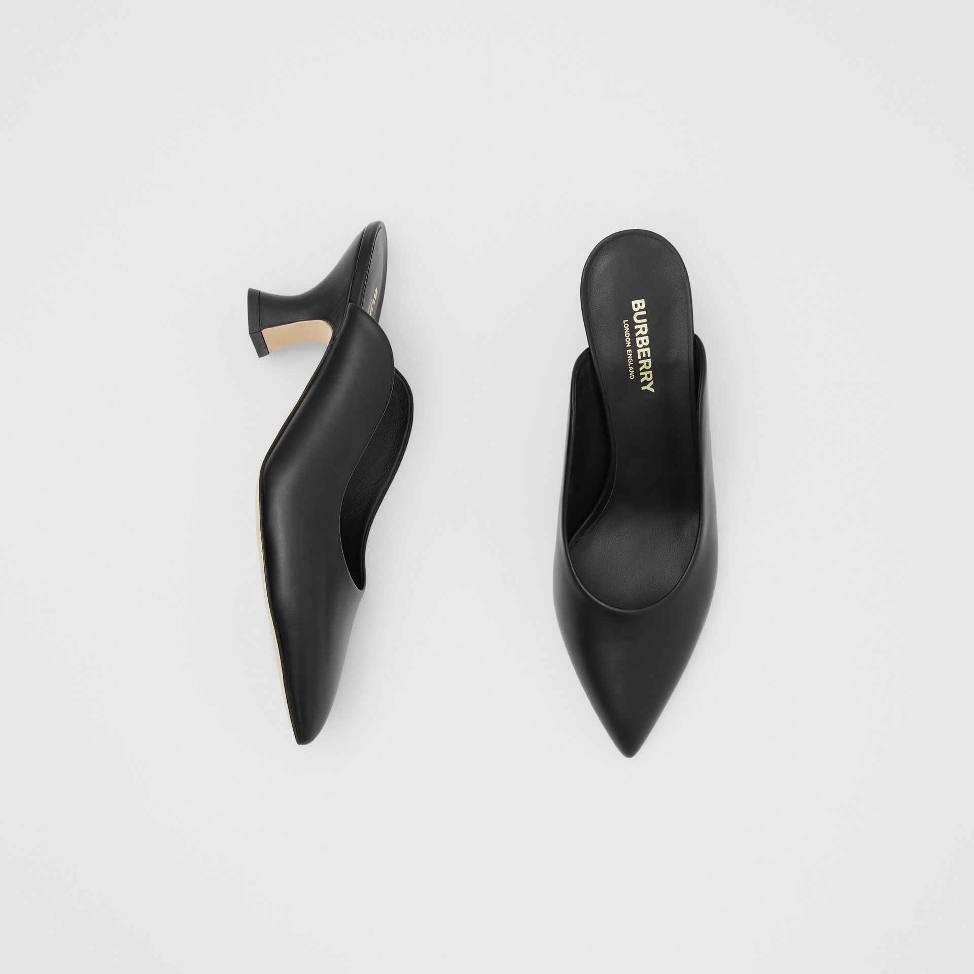 Leather Point-toe Mules in Black - Women | Burberry - gallery image 0