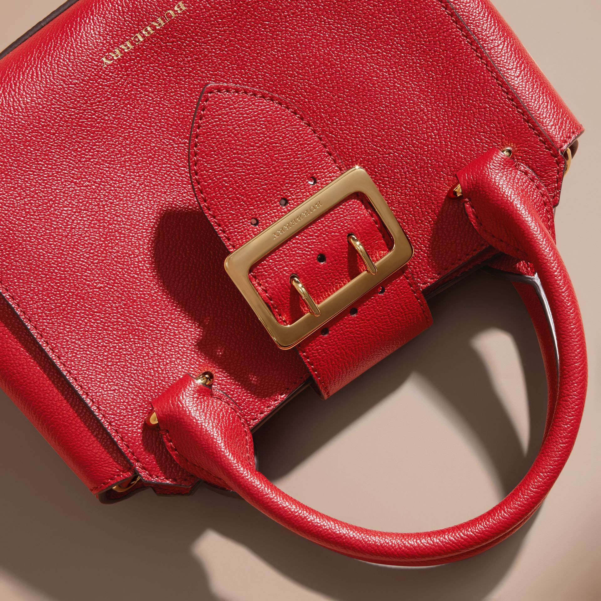 The Small Buckle Tote in Grainy Leather in Parade Red - Women | Burberry - gallery image 2