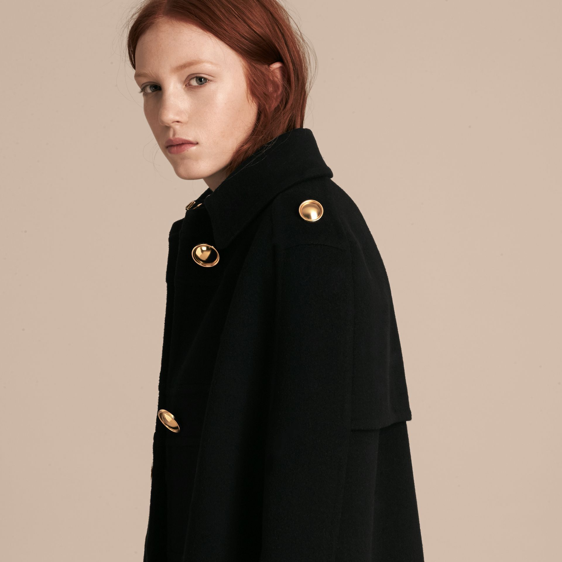 Black Double Cashmere Military Cape - gallery image 5
