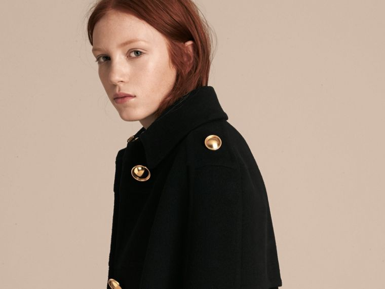 Black Double Cashmere Military Cape - cell image 4