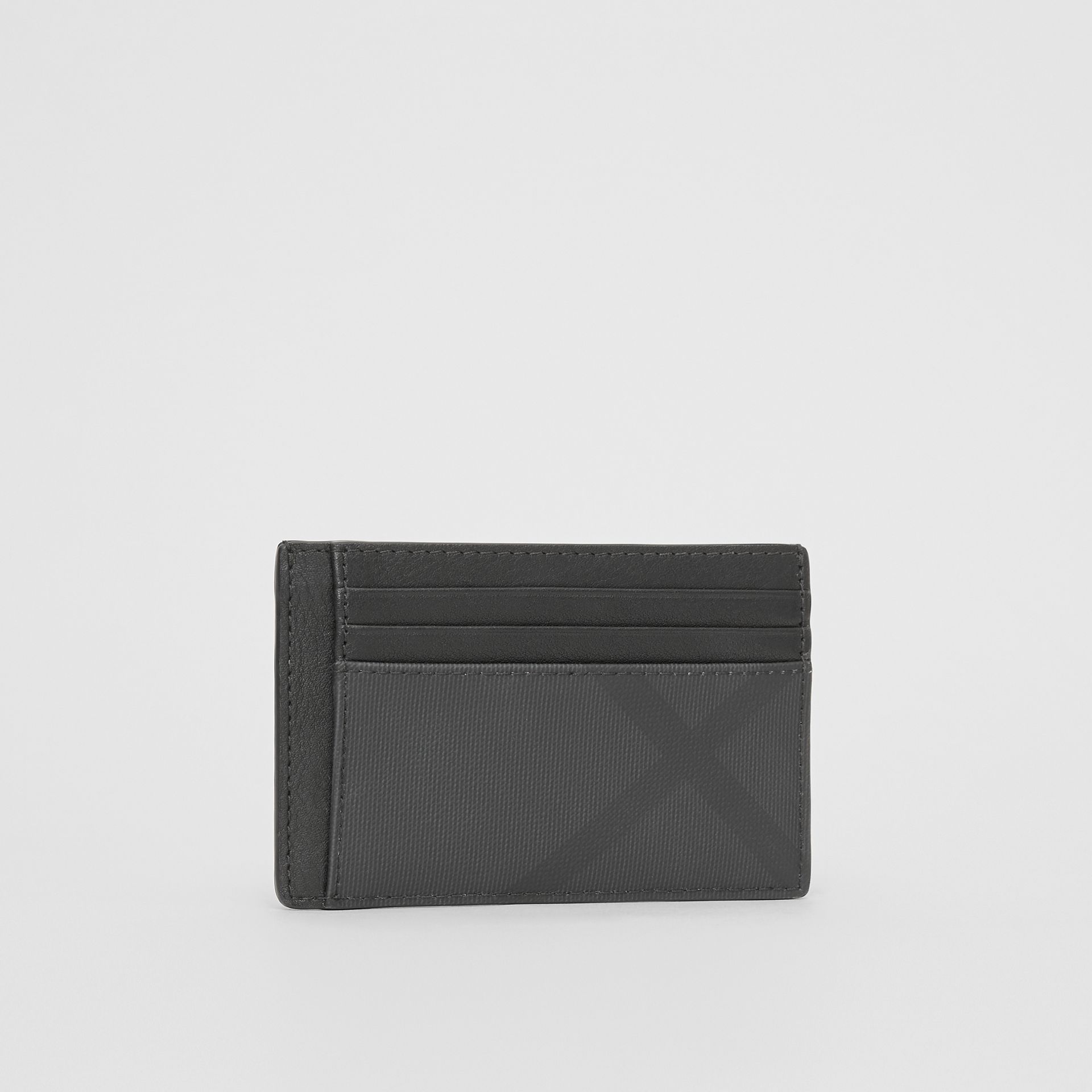 London Check and Leather Money Clip Card Case in Dark Charcoal - Men | Burberry United Kingdom - gallery image 3