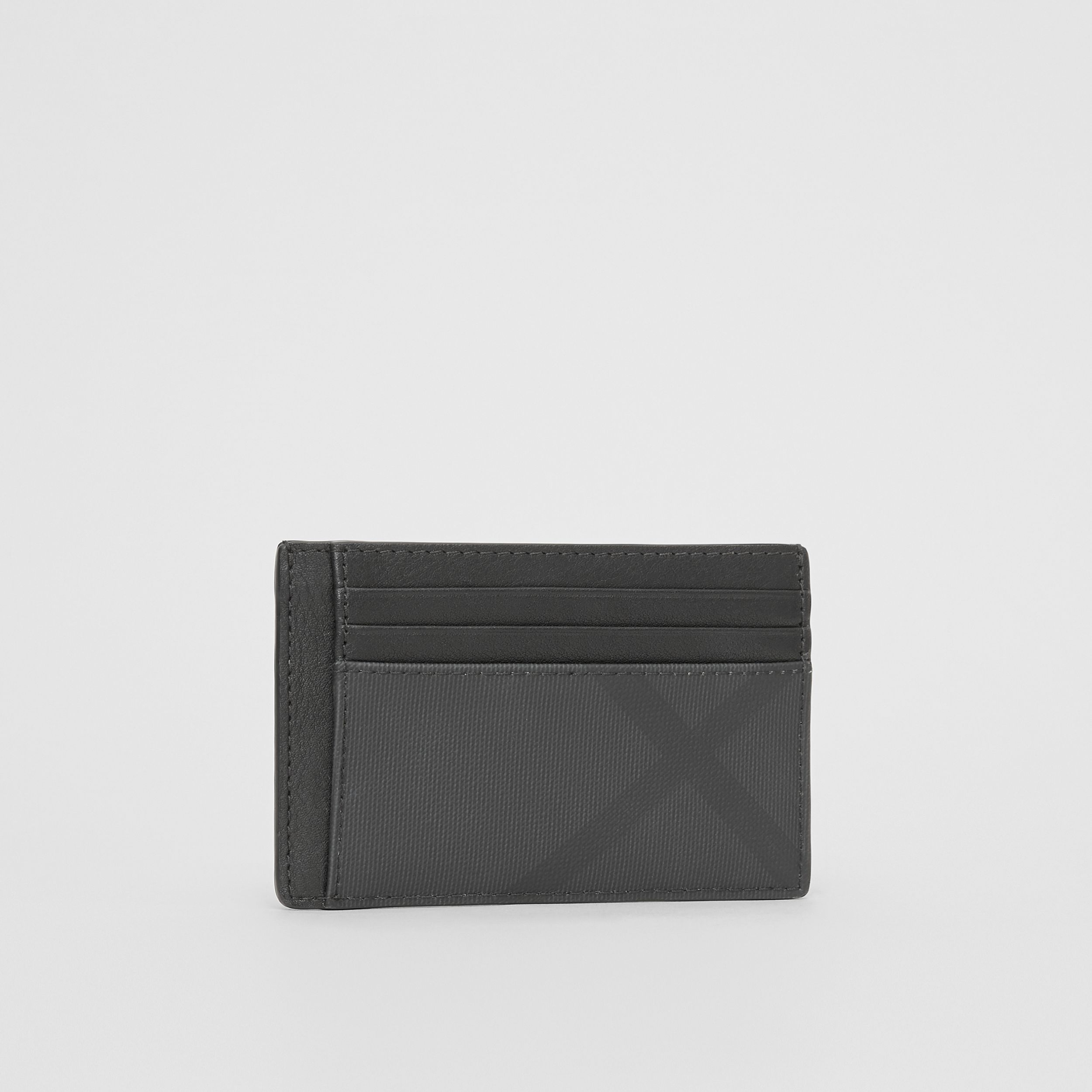 London Check and Leather Money Clip Card Case in Dark Charcoal - Men | Burberry - 4