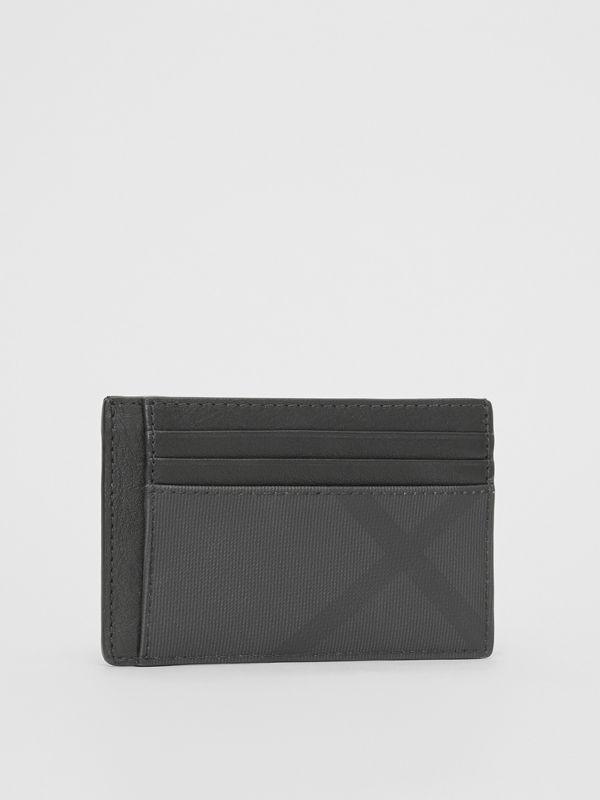 London Check and Leather Money Clip Card Case in Dark Charcoal - Men | Burberry United Kingdom - cell image 3